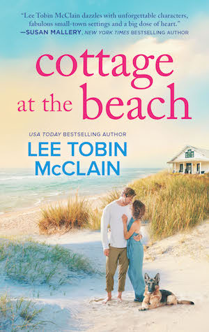 cover with couple embracing on sandy beach